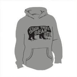 Long Sleeve Bear Logo Hooded Sweatshirt Athletic Gray